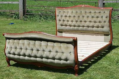 PRETTY EARLY / MID 20th CENTURY   FRENCH UPHOLSTERED DOUBLE SLEIGH BED WITH BASE