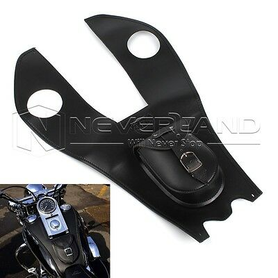 Black Leather Gas Tank Bag Cover Pad With Pouch For Harley Davidson Touring