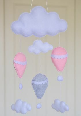 SALE Girl's Clouds hot air balloon hanging nursery mobile baby shower decoration