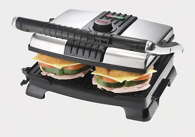 Large Plate/Stainless Steel Toaster Sandwich Press /Grill Non Stick Surface 30cm