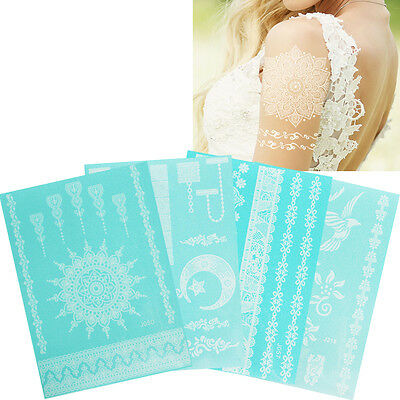 White Flower Lace Chain Temporary Body Hands Art Tattoo Sticker Henna DIY Makeup