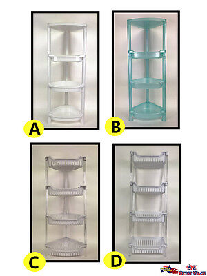 4 Tier Plastic Corner Shelf Kitchen Rack Bathroom Storage Organizer Shower Caddy