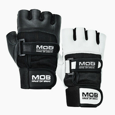 Weight Lifting Gym Padded Leather Training Workout Fitness Double Strap Gloves