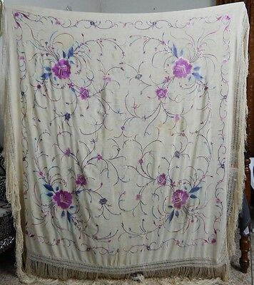 Antique Beautiful Chinese Hand Embroidered Silk Piano Shawl Multi Color Ps148