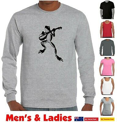 Funny T-Shirts Cute Frog Playing Guitar  banjo Aussie designs Prints Long sleeve