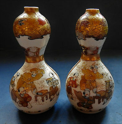 Pair Of Japanese Satsuma Double Gourd Shaped Vases - Signed - Late 19Th Century