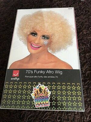 Blonde 1970's Disco Funky Afro Wig Adult Unisex Smiffys Fancy Dress Costume