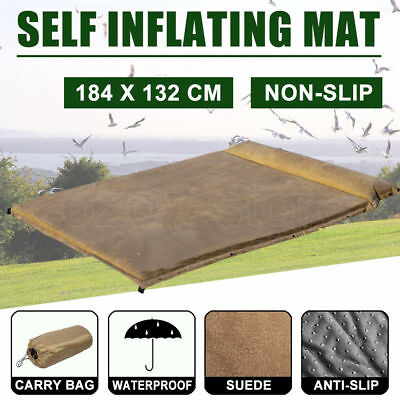 Double Self Inflating Mattress Suede Sleep Bag Mat Air Pad Bed Camping Hiking AU