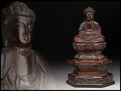 【Pre-Owned】 Wood Carving Amida Buddha statue Buddhist art Antique From Japan