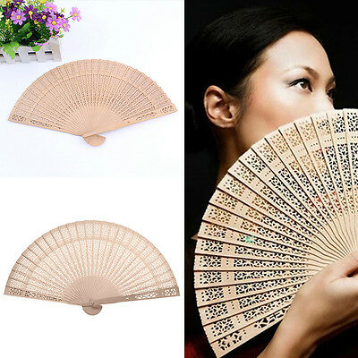 Lady Fragrant Sandalwood Hand Fan Wooden Scented for Wedding Party Gift Boxed