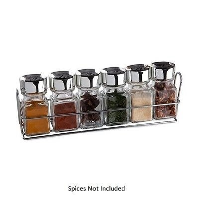 Spice Rack and Jars, Glass, Silver, 6-Piece Chrome stand-New