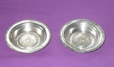 VINTAGE 1930s M. AaSE NORWAY TWO 830s SILVER NUT DISHES  M/Y STELLA POLARIS SHIP
