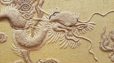 Antique Chinese/Japanese Embroidery/Crewelwork Dragon Panel Framed Wool