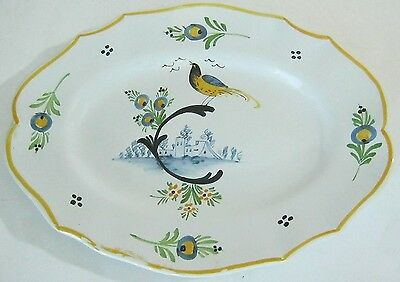 Hand Painted Ceramic Pottery Oval Plate Bird
