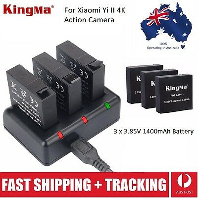 Kingma USB Triple Battery Charger & 3 Batteries Kit For Yi 4K / 4K+ / Lite