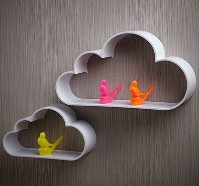 Monochrome Cloud Shelves Wall Display Shelf Modern Black White Nursery Kids Room