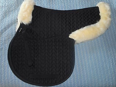 BR Equestrian Sheepskin VSS Saddle Pad Black/Natural FULL size