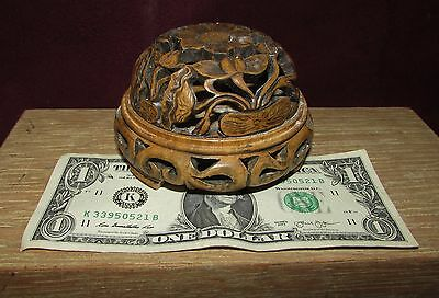 Old or Antique Chinese Carved Soapstone Cricket Cage