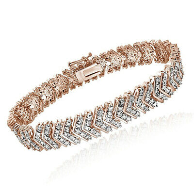 18K Rose Gold Over 1ct TDW Natural Diamond Chevron Bracelet