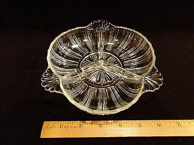 Vintage Clear Glass Divided Dish~Line Design~ 3 Flower Handles~3 Sections~VG