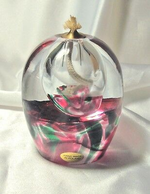 Hand Blown Art Glass Oil Lamp Made in Poland