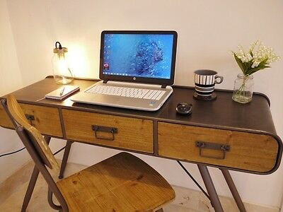 Industrial Vintage 3 Drawer Metal Wood Sideboard Office Desk Console Hall Table