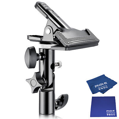 Phot-R Heavy Duty Clamp Holder Reflector Light Stand Microfibre Chamois Cloth