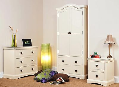 Cream Painted Shabby Chic Bedroom Furniture - Wardrobes, Drawers, Bedside, Desk