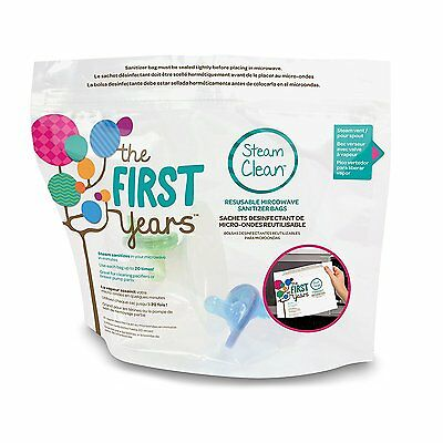 The First Years Steam Clean Reusable Microwave Sterilizer Bags, 8 Count