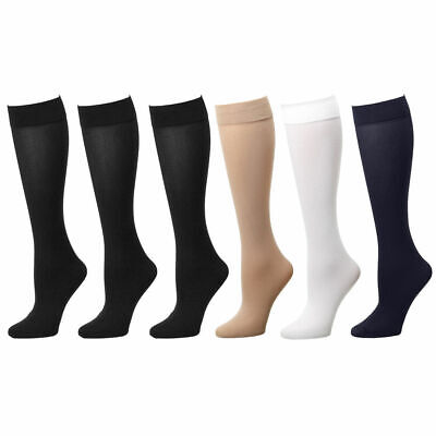 6-Pack Women Trouser Socks Stretchy Spandex Opaque Knee High Comfort Band