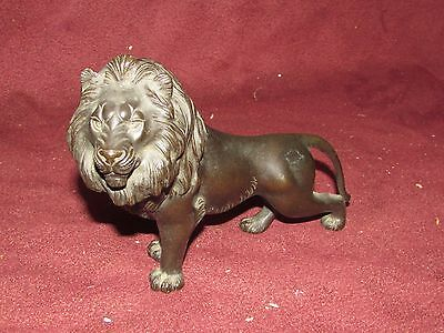 Antique Japanese Bronze Lion Sculpture Signed Meiji Period