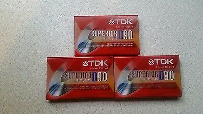 3 TDK SUPERIOR D90 Type 1 NORMAL BIAS BLANK AUDIO CASSETTE TAPES - NEW SEALED