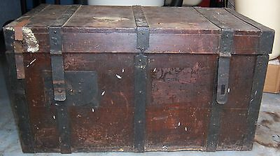 Antique Wood Trunk Storage Chest Metal Trim & Latches- Lt 1800's to Early 1900's