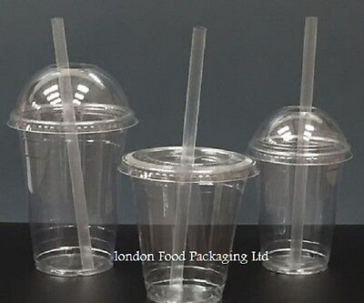 Smoothie Milkshake Disposable Plastic Cups With Lids & Straws 250ml - 660ml