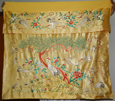 Antique Chinese Birds Hand Embroided Silk Wall Hanging Panel 100X91cm (X47)