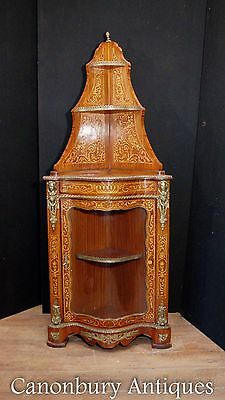 French Empire Corner Display Cabinet Bijouterie Marqetry Inlay