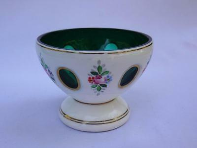 Vintage Bohemian Style Fancy Hand Painted Layered Glass Bowl White Green