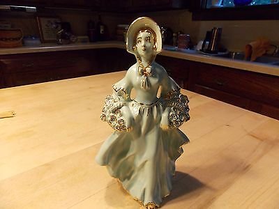 Porcelain Victorian Lady Figurine Gold Accents Perfect