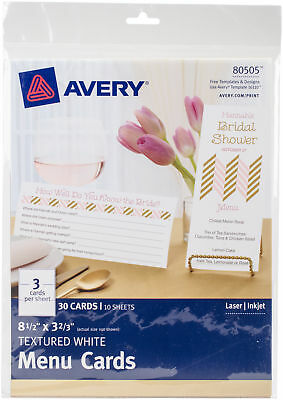 "Avery Dennison 80505 Textured Menu Cards 8-1/2""X3-2/3"" 30/Pkg-White"