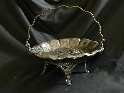 Antique Victorian Era James W. Tufts Boston Silver Plate Brides Basket #2768