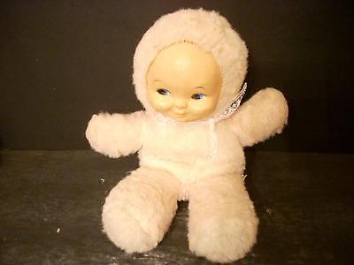 """Vintage 9 1/2"""" Vinyl Face Stuffed Pink Fuzzy Baby Doll  (23)"""