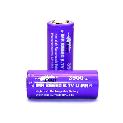 2 Efest Purple Imr 26650 3500 Mah 64 A 3.7 V Rechargeable Flat Top Battery