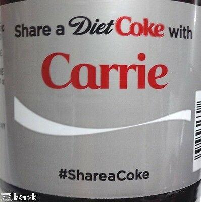 Share a COKE with CARRIE Collectible 20 oz Bottle RARE DIET Coca-Cola HTF Name