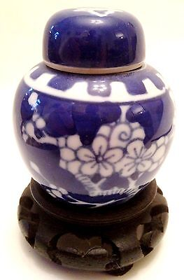 Chinese Miniature Porcelain Ginger Jar On Wooden Stand Blue & White