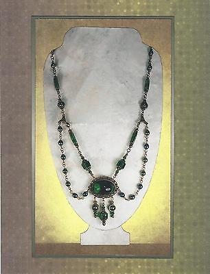 Emerald Lucite Green Art Glass & Bronze Swag Cabochon Pendant Necklace 6019