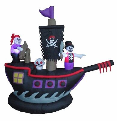 Halloween Lighted Air Blown Inflatable Yard Decoration Pirate Ship Skeleton Crew