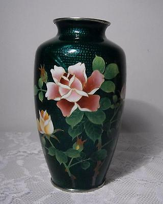 Stunning Vintage Guilloche~Rarely Seen~Emerald Green Vase w/Red & Yellow Roses