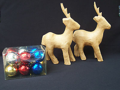 Lightweight Paper Reindeer Figurines With 12 Ornaments Included