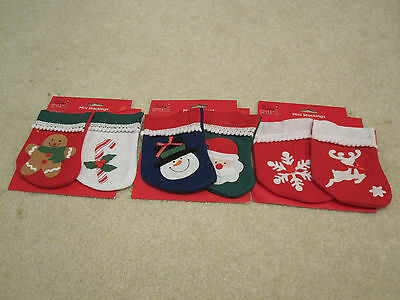 Christmas stockings mini felt lot of 6 new with tags 7 inches snowman santa