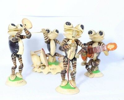 Natural Seashell Frog Musical Band Figurines Handcrafted Guam Souvenirs